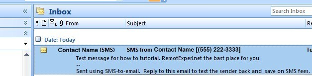 SMS to Email Sample in Outlook